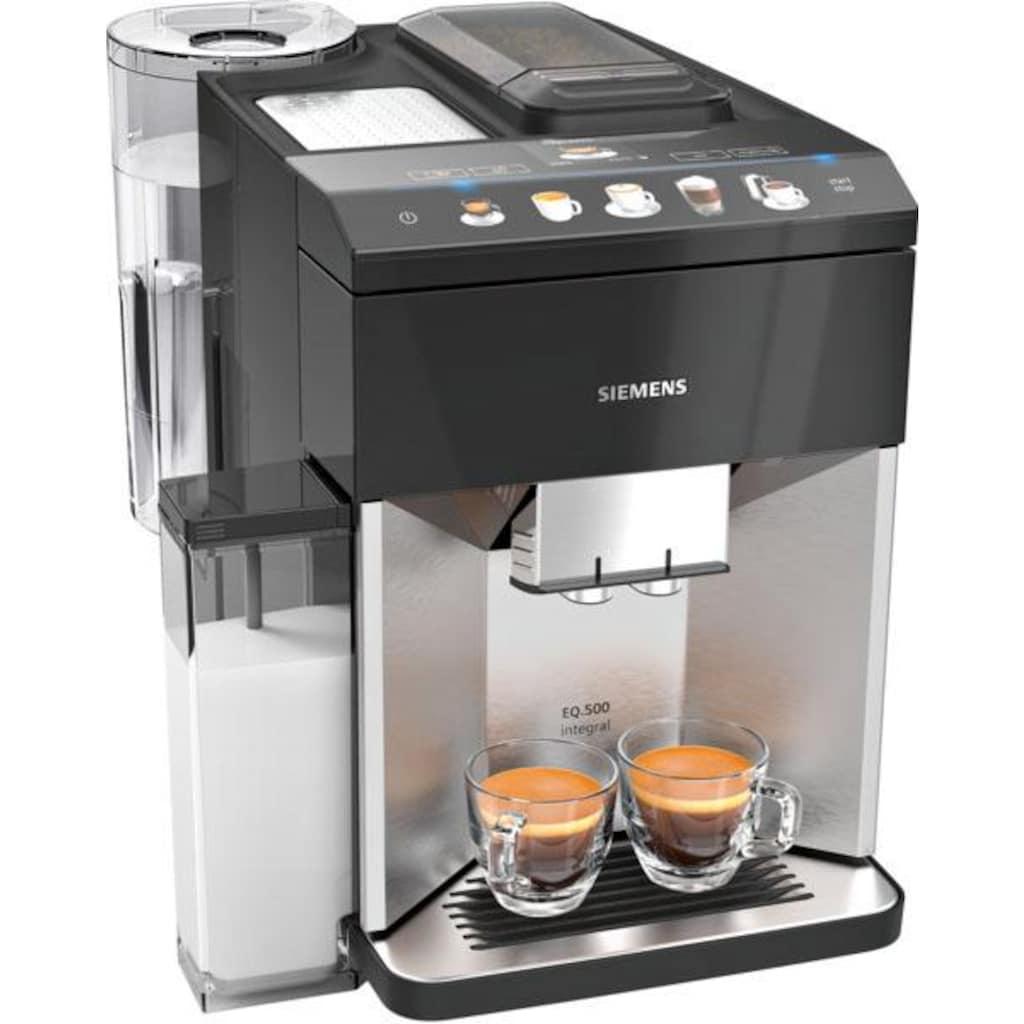 SIEMENS Kaffeevollautomat »EQ.5 500 integral TQ507D03«, einfache Bedienung, integrierter Milchbehälter, zwei Tassen gleichzeitig
