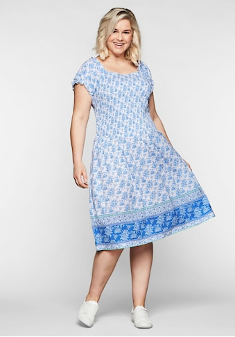 Sheego Jerseykleid, mit Rüschen und gesmoktem Oberteil kaufen