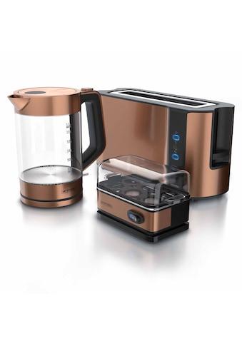 Arendo Frühstücks-Set »Wasserkocher / Toaster / Eierkocher«, 3-teilig in Kupfer Optik kaufen