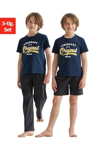 Bench. Pyjama, (Packung, 3 tlg.), im 3er Set, T-Shirt mit Shorts und langer Hose kaufen