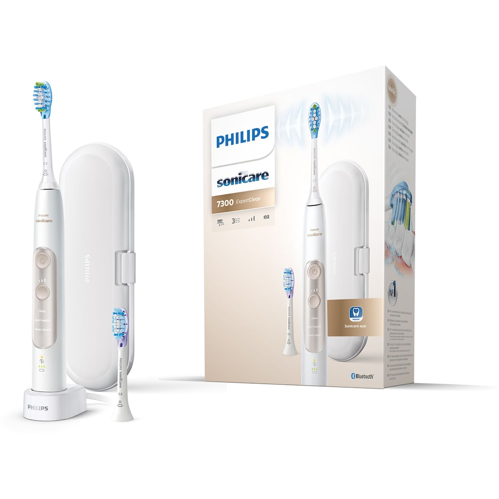 Philips Sonicare Elektrische Zahnbürste »ExpertClean 7300 HX9601/03«, 2 St. Aufsteckbürsten, mit Schalltechnologie, Reiseetui