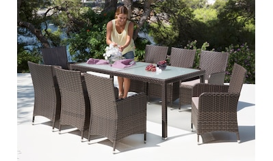 Gartenmöbelset »San Remo«, 17   Tlg., 8 Sessel, Tisch 185x90