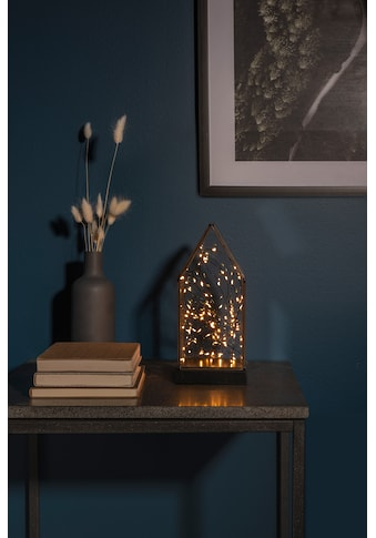 KONSTSMIDE LED Glaslaterne mit Spitze und schwarzem Holzfundament kaufen