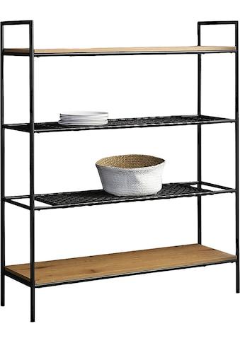 SalesFever Bücherregal, 2 Ablageböden aus mattschwarzem Polyrattan kaufen