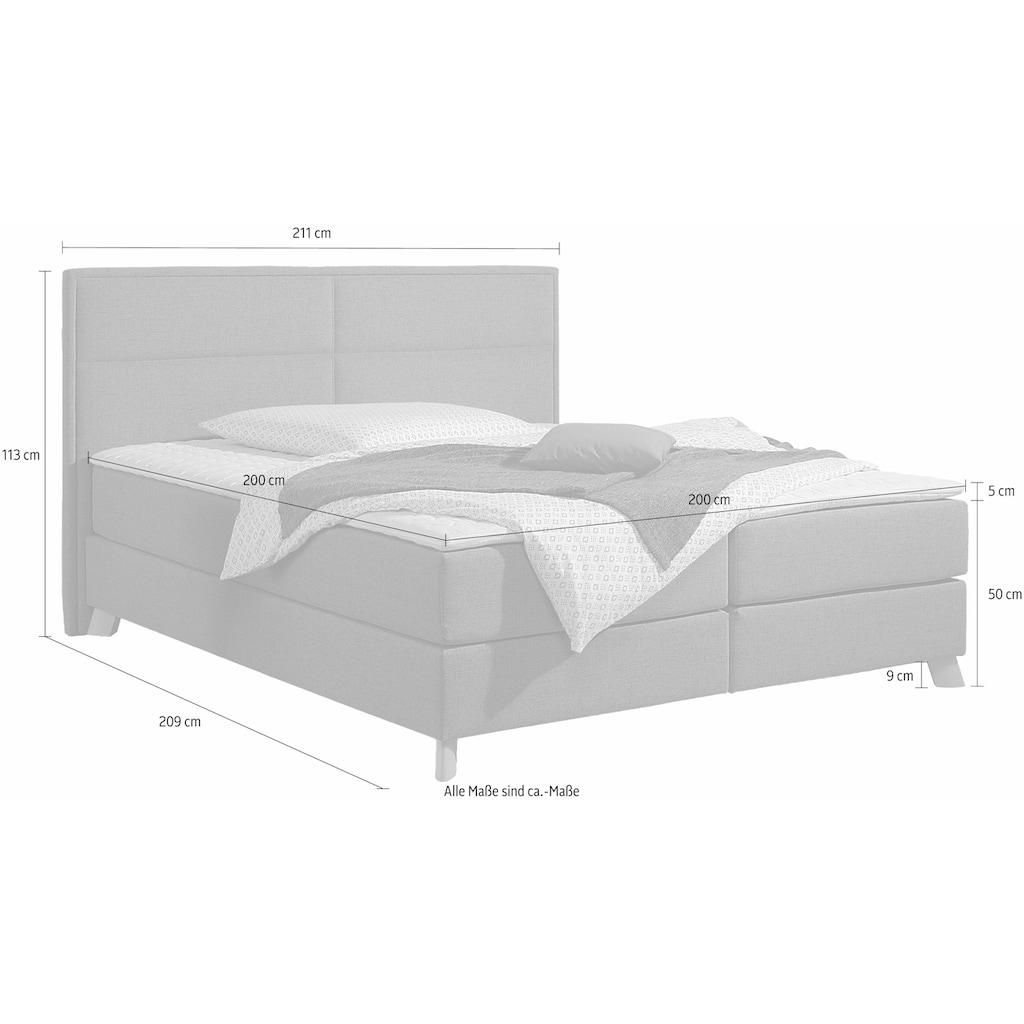 Home affaire Boxspringbett »Caria«, in 5 Breiten, 3 Matratzen-Ausführungen, 2 Härtegraden, Topper