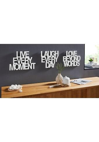 andas Wanddekoobjekt »Deko - Schriftzug Live every Moment  -  Love beyond Words  -  Laugh every Day« (3 Stück) kaufen