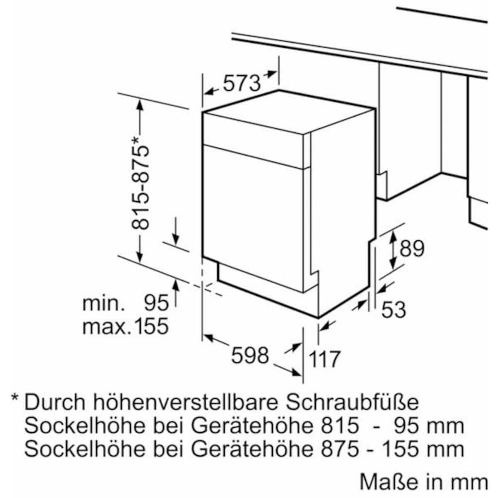 SIEMENS Unterbaugeschirrspüler »SN456S00CE«, iQ 500, SN456S00CE, 9,5 l, 13 Maßgedecke