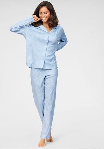 Schiesser Pyjama, in klassischer Form mit Alloverdruck kaufen