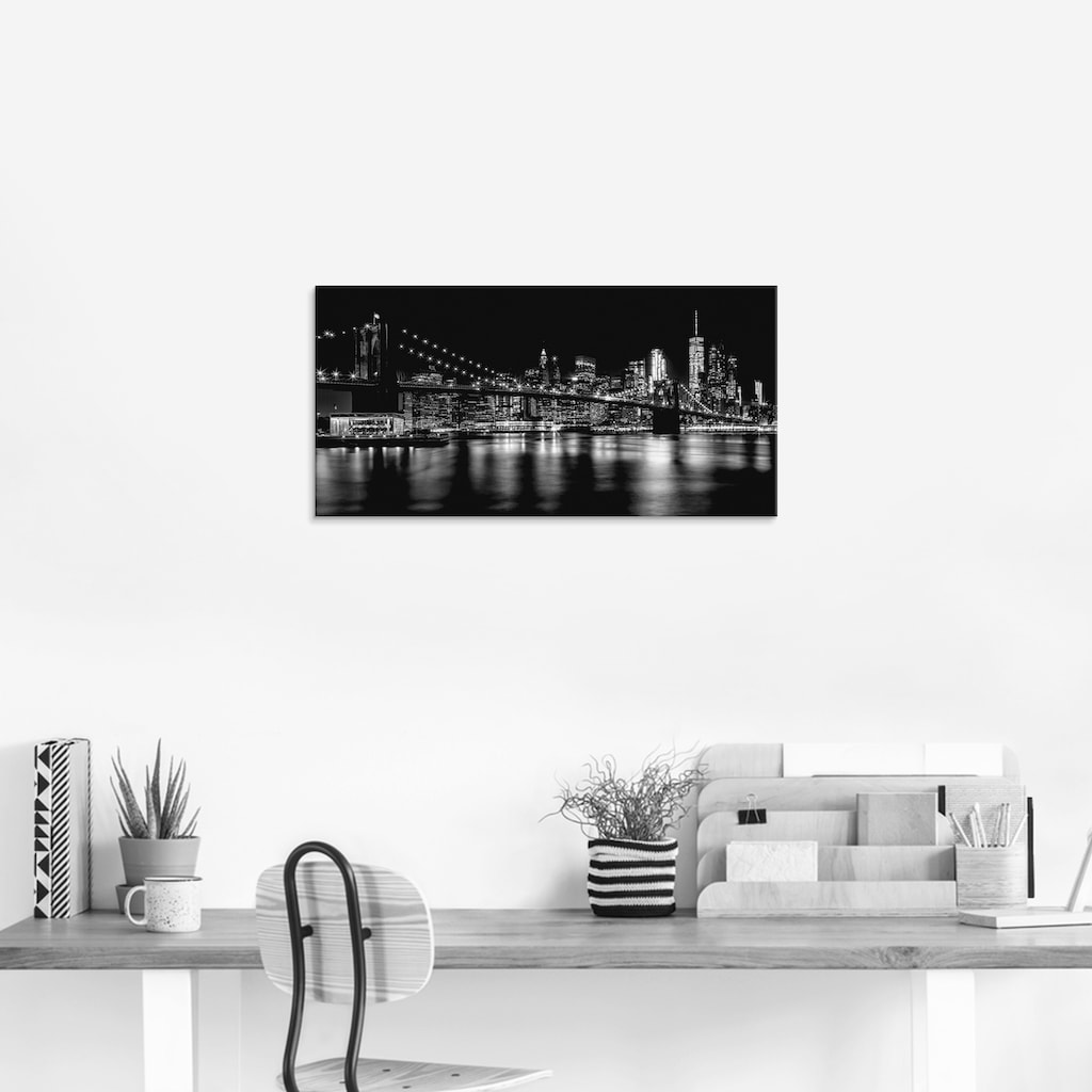 Artland Glasbild »Manhattan Skyline & Brroklyn Bridge«, Amerika, (1 St.)