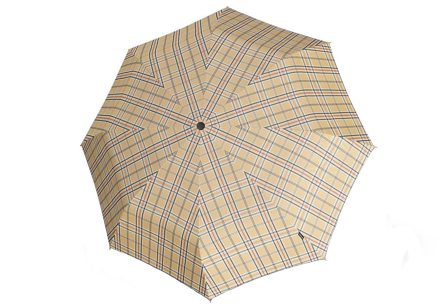 Knirps® Regenschirm mit Holzgriff, »Topmatic SL Crook - Karo beige«   Accessoires > Regenschirme > Sonstige Regenschirme   Bunt   Polyester   KNIRPS