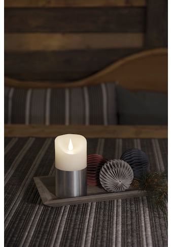 KONSTSMIDE LED-Kerze, LED Echtwachskerze, weiß, mit silberfarbener Banderole kaufen