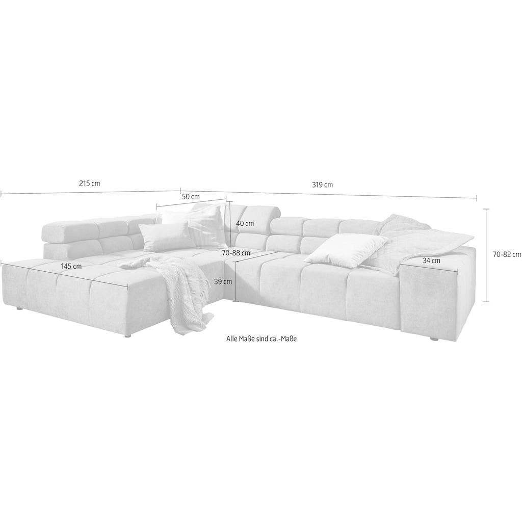 INOSIGN Ecksofa »Ancona«, mit auffälliger Steppung, wahlweise mit motorischer Sitztiefenverstellung, inkl. 3 Zierkissen und verstellbaren Kopfstützen