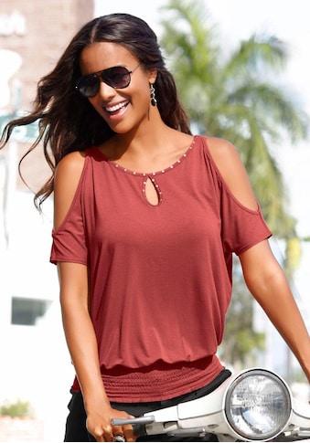 LASCANA T-Shirt, mit Neitenbesatz kaufen