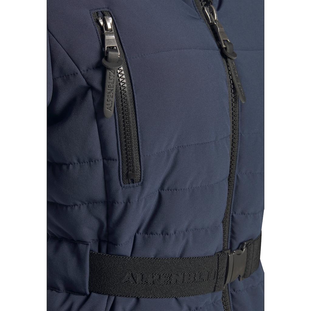 ALPENBLITZ Winterjacke »Oslo short«, hochwertige Steppjacke mit Markenprägung auf dem elastischem Gürtel