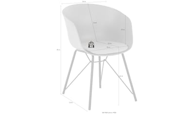 Armlehnstuhl »Edith«, Kunststoffschale mit Sitzkissen in Webstoff bezogen, schwarzes... kaufen