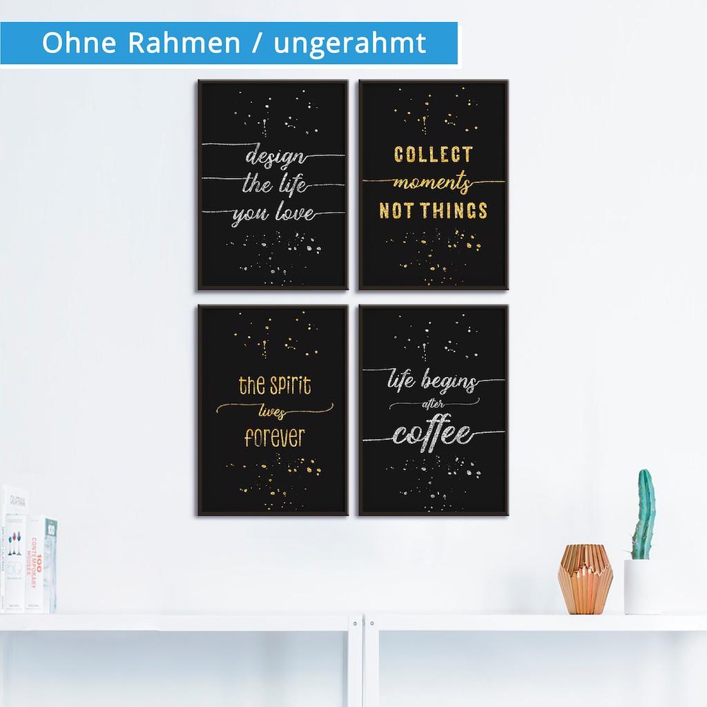 Artland Poster »SILBER & GOLD 4 Lebensweisheiten«, Sprüche & Texte, (4 St.)