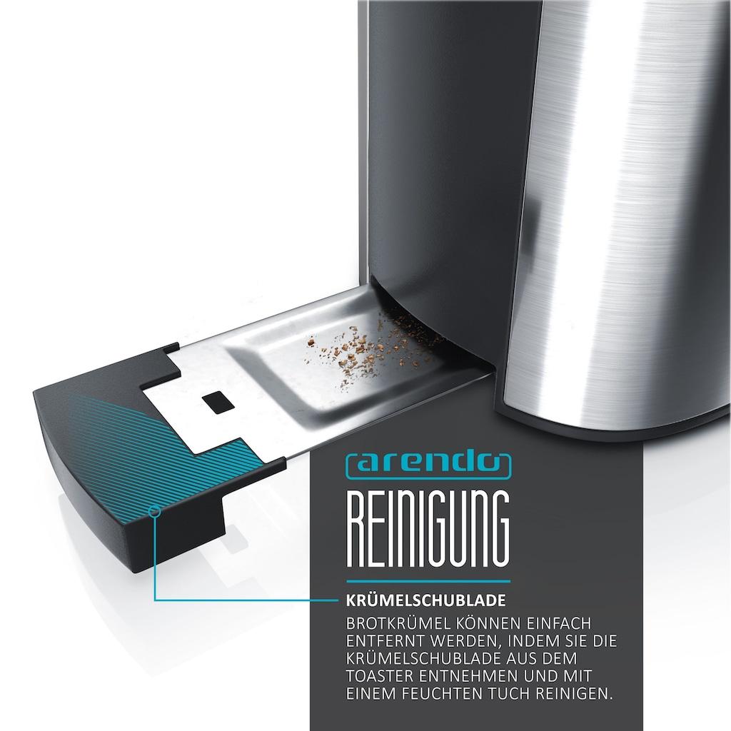 Arendo Frühstücks-Set »Wasserkocher, Toaster und Eierkocher«, 3-teilig in Edelstahl Optik