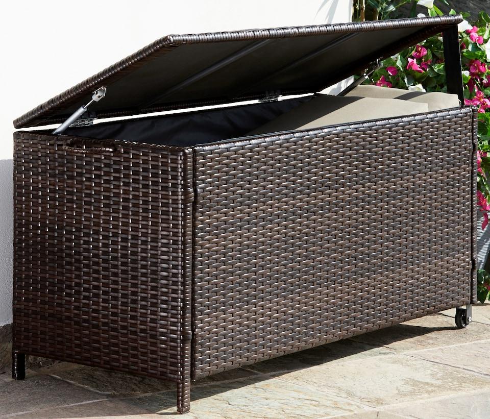 gartengut auflagenbox rattan polyrattan braun auf. Black Bedroom Furniture Sets. Home Design Ideas