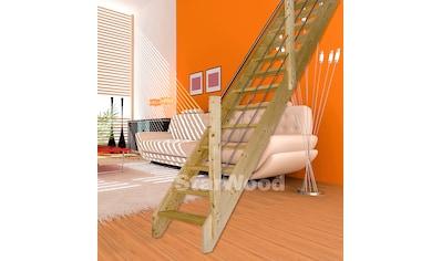 STARWOOD Raumspartreppe »Korfu«, offene Stufen, gerade, Holz - Edelstahlgeländer rechts kaufen