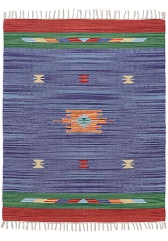 carpetfine Teppich »Kelim Amal«, rechteckig, 5 mm Höhe, Flachgewebe, Wendeteppich, reine Baumwolle, mit Fransen, Wohnzimmer kaufen