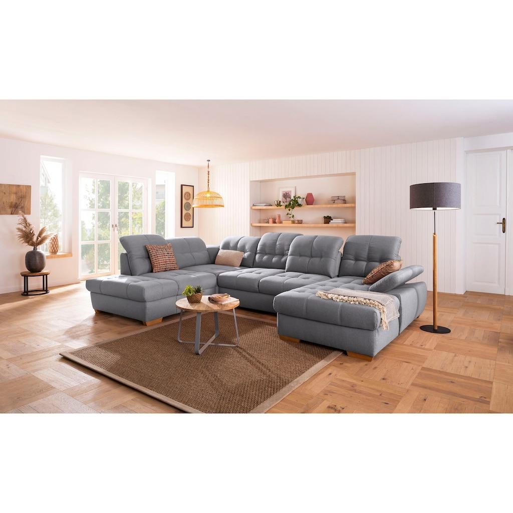 Home affaire Wohnlandschaft »Lotus Home«, incl. Sitztiefenverstellung, wahlweise mit Kopfteil- und Armlehnverstellung, Bettfunktion und Bettkasten