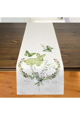 Delindo Lifestyle Tischläufer »Osterhäschen«, Strukturgewebe in Leinenoptik, bestickt kaufen