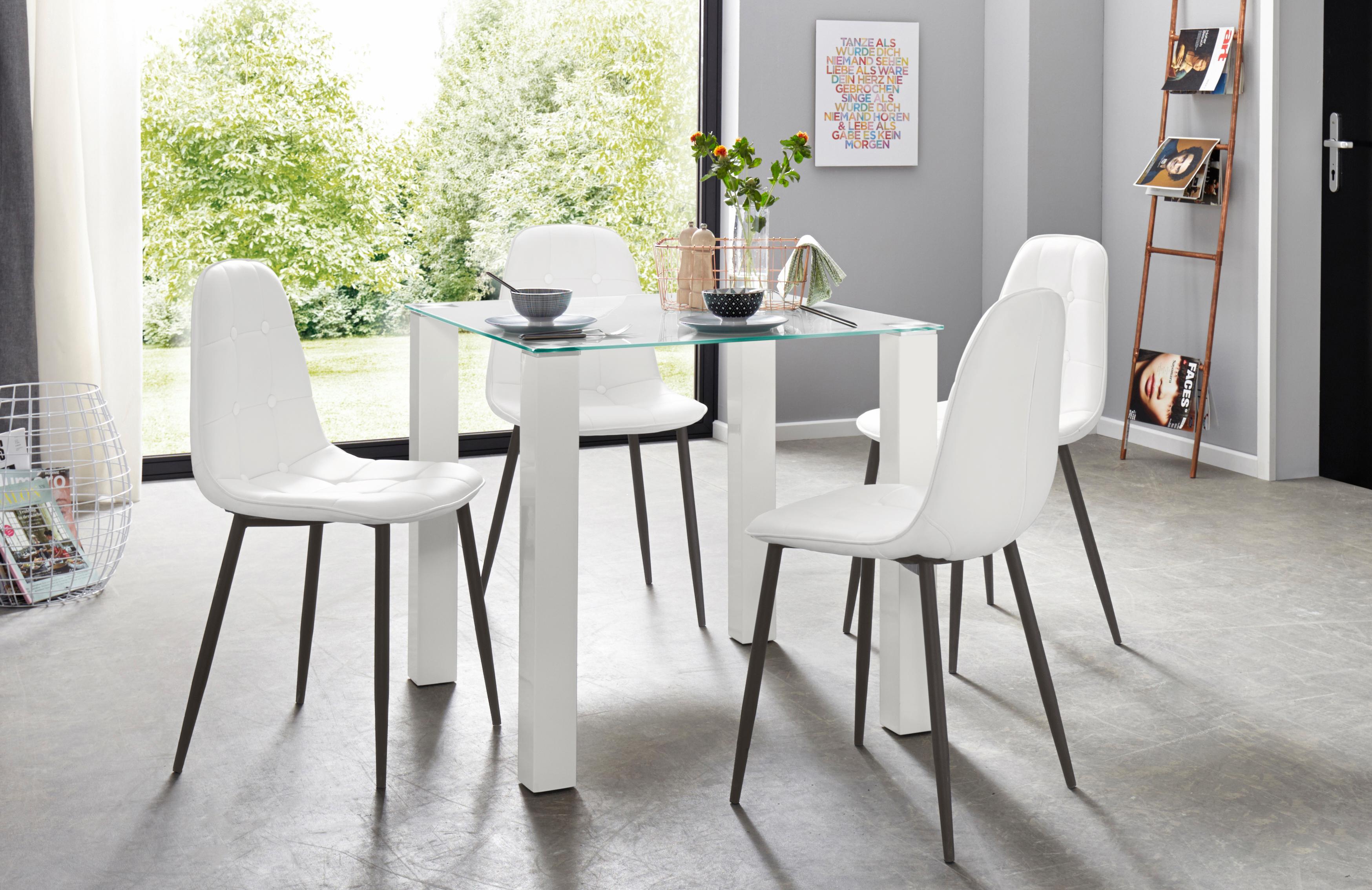 Essgruppe 5-teilig mit Glastisch 80 cm breit | Wohnzimmer > Tische > Glastische | Mehrfarbig | QUELLE
