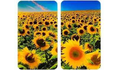 """WENKO Herd - Abdeckplatte """"Universal Sonnenblumenfeld"""", Glas Kunststoff, (Set, 2 - tlg.) kaufen"""