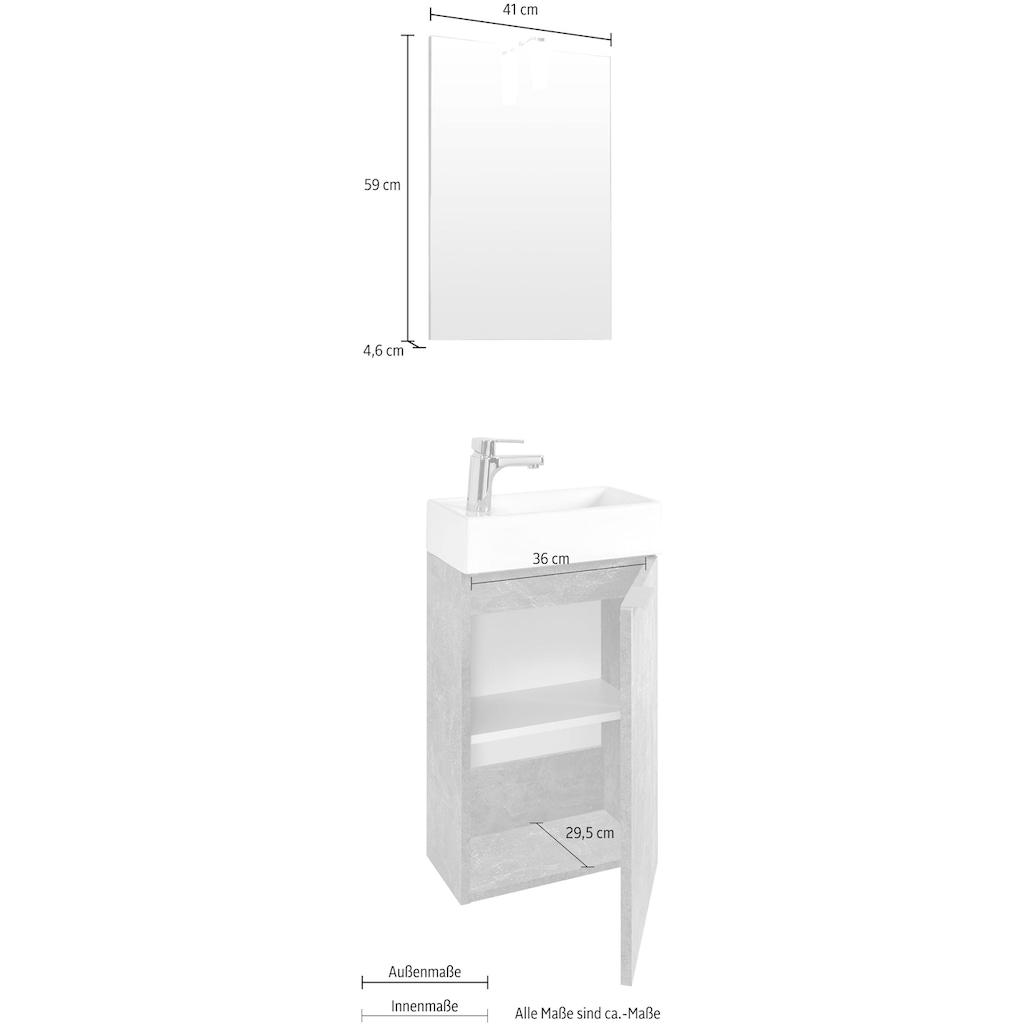 Homexperts Badmöbel-Set »Gizo«, (Set, 2 St.), mit LED-Beleuchtung, für Gäste-WC geeignet