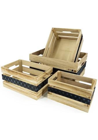 NOOR LIVING Aufbewahrungsbox »Aufbewahrungsboxen-Set 4-tlg., natur, mittig bedruckt«,... kaufen