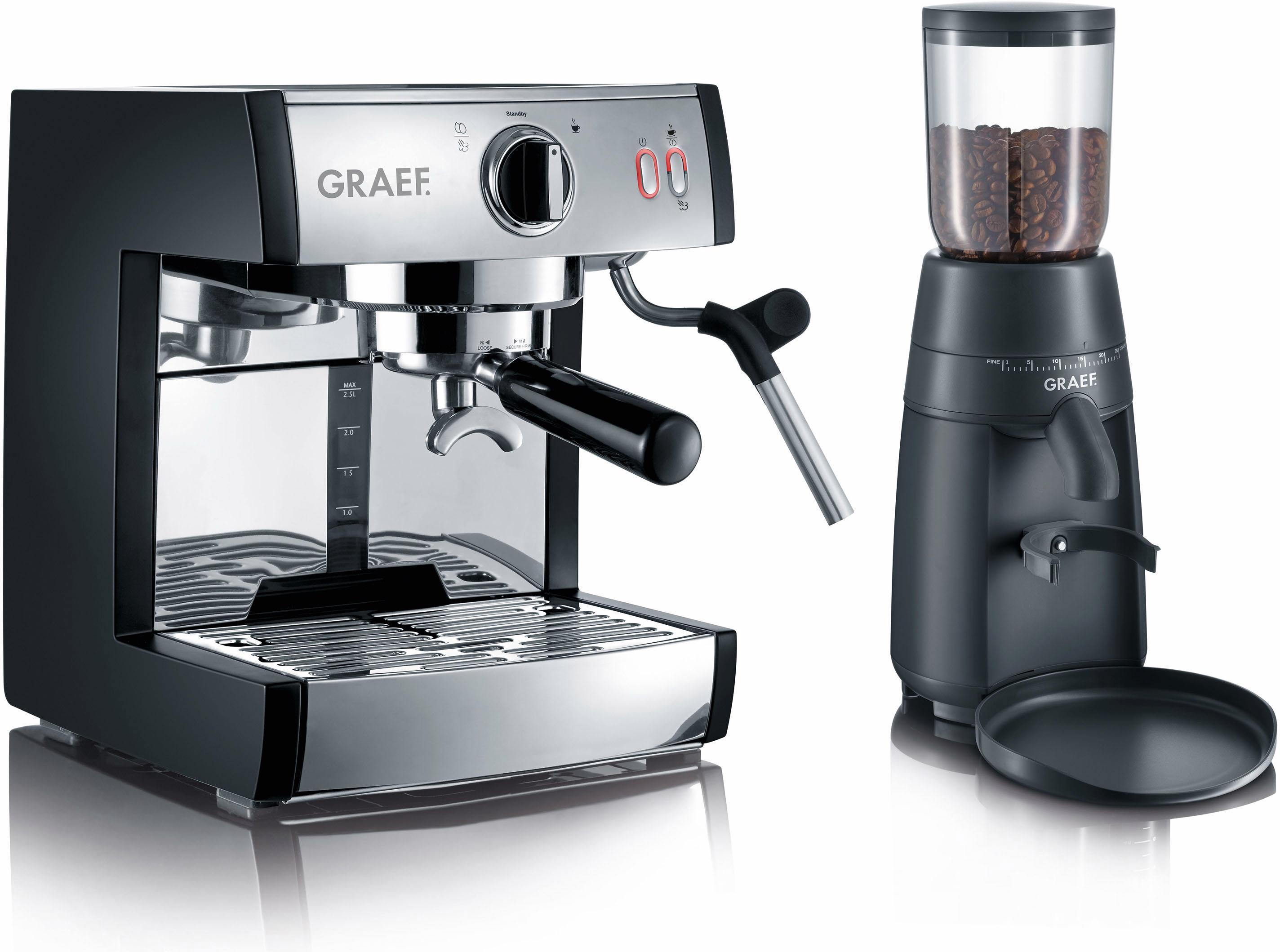 Graef Siebträgermaschine Espressomaschine pivalla SET | Küche und Esszimmer > Kaffee und Tee > Espressomaschinen | Schwarz | GRAEF