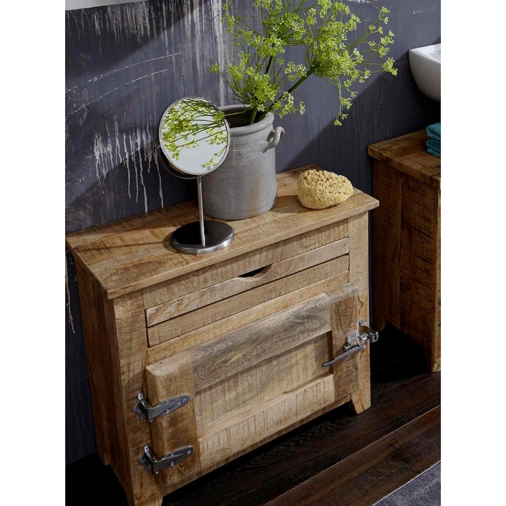 SIT Badkommode »Frigo«, Mangoholz im Antik-Look mit Kühlschrankgriffen, Breite 67 cm, Shabby Chic, Vintage