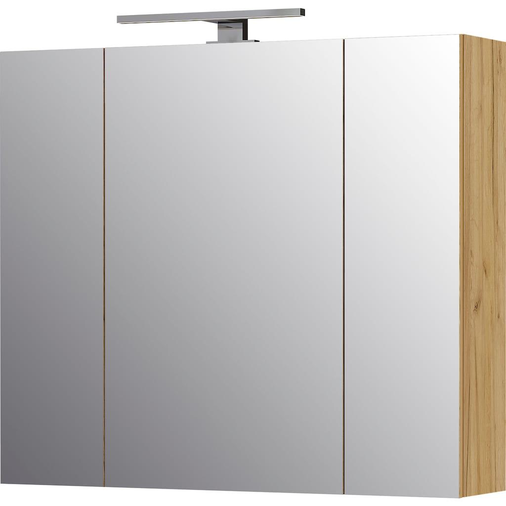 GERMANIA Badmöbel-Set »Avino«, (2 St.), Spiegelschrank inkl. LED-Beleuchtung, Glasfronten, Soft-Close-Funktion