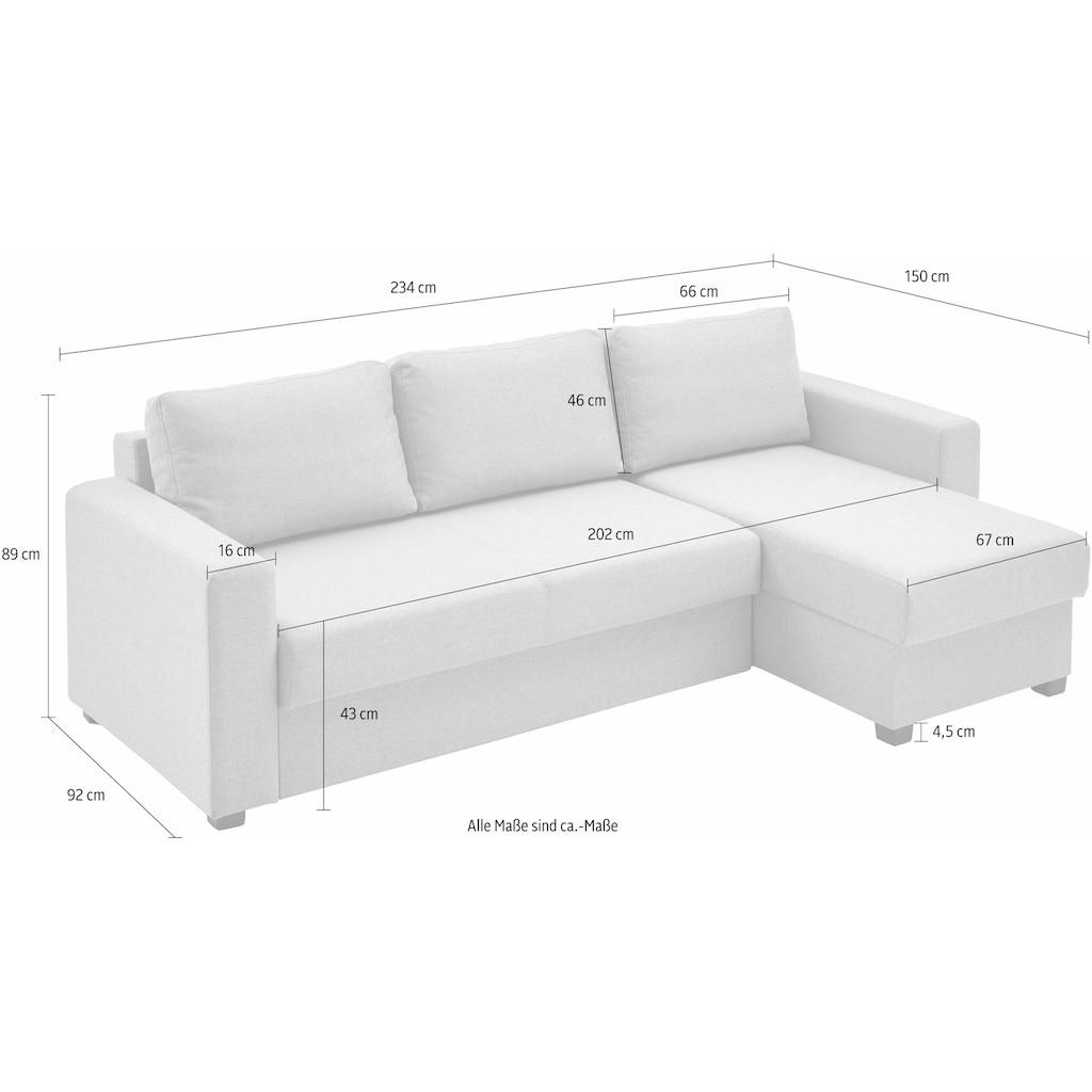 ATLANTIC home collection Ecksofa, mit Bettfunktion und Bettkasten, Recamiere links oder rechts montierbar, inklusive Federkern