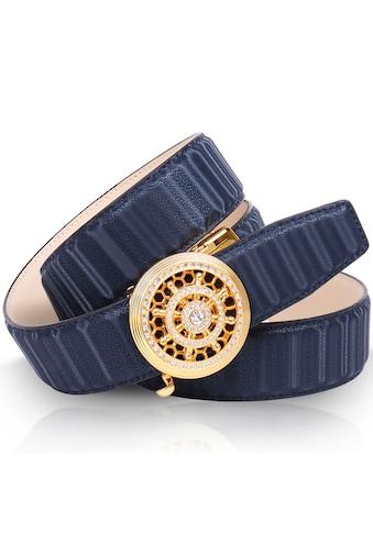Anthoni Crown Ledergürtel, mit goldfarbener Automatik-Schließe, drehbares Steuerruder kaufen