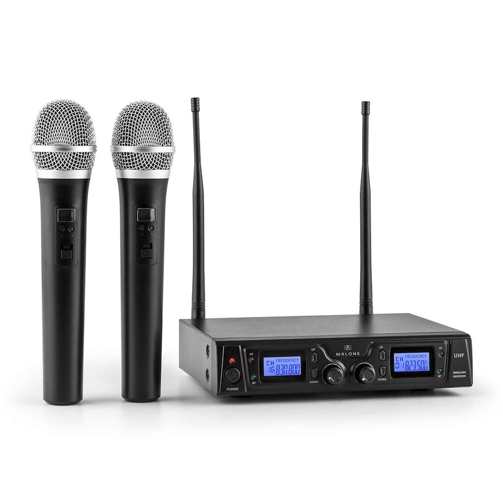 Malone UHF Funkmikrofon Set 2 Kanal 50m XLR Klinken Aux Ausgang »Duett Pro V1«