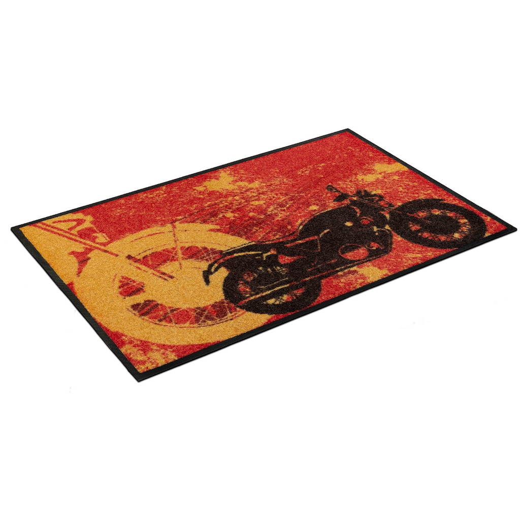 wash+dry by Kleen-Tex Fußmatte »Motorbike«, rechteckig, 7 mm Höhe, Schmutzfangmatte, In- und Outdoor geeignet, waschbar