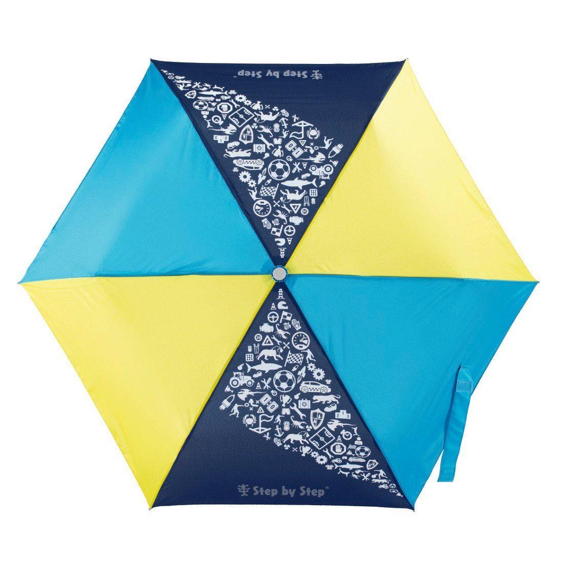 Step by Step Regenschirm Jungen Kinder Taschenschirm Blau Gelb »Blue & Yellow Mini Rain Effect«   Accessoires > Regenschirme > Taschenschirme   Bunt   STEP BY STEP