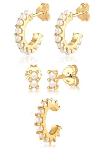 Elli Ohrring-Set »Ohrringe Creolen Stecker Earcuff Perlen, 0301221020«, (Set, 5 tlg.), mit Kristallperlen kaufen