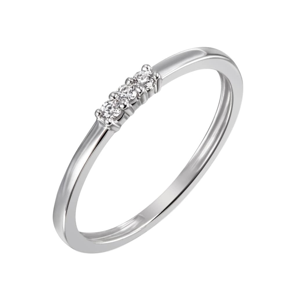 Firetti Diamantring »ca. 1,5 mm breit, in Glanzoptik, rhodiniert, massiv«, mit Brillanten