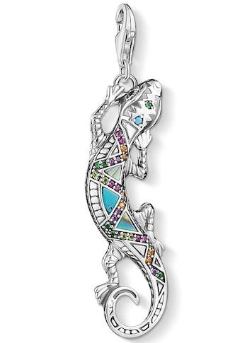 THOMAS SABO Charm-Einhänger »Eidechse, Y0063-991-7«, mit Emaille, Perlmutt, imit. Türkis, synth. Korund, Glassteinen und Zirkonia kaufen