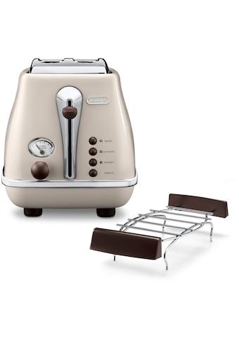 De'Longhi Toaster »Incona Vintage »CTOV 2103.BG««, 2 kurze Schlitze, 900 W, im Retro Look, cremefarben kaufen