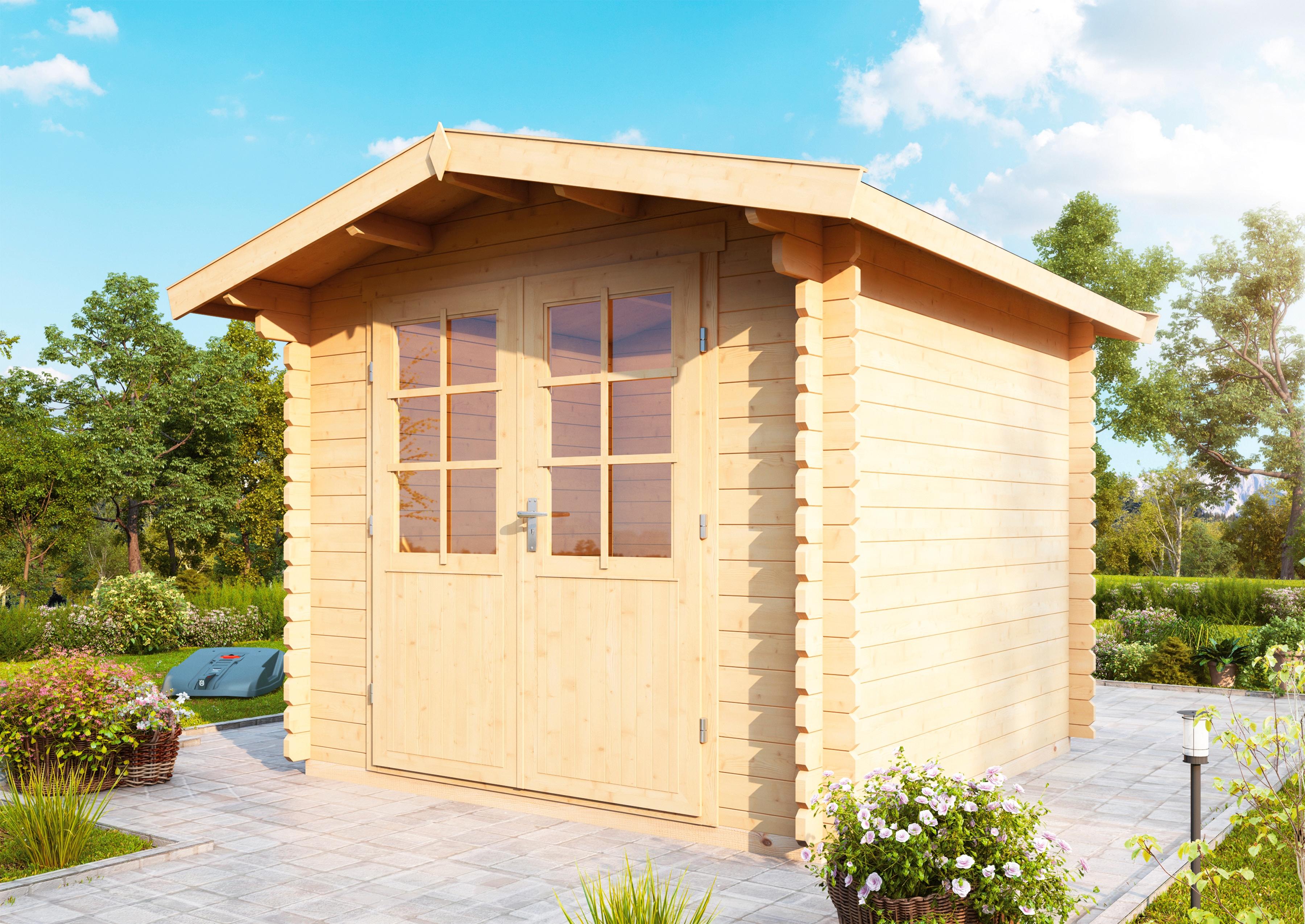 WOLFF FINNHAUS Gartenhaus »Bibertal 28-A«, BxT: 292x300 cm, inkl. Fußboden | Garten > Bodenbeläge-Garten | Natur | Fichte - Hölzer | WOLFF FINNHAUS