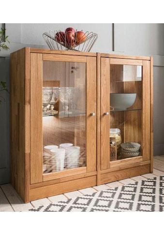 Premium collection by Home affaire Standvitrine »Ecko«, aus schönem massivem Wildeichenholz, Breite 92 cm kaufen
