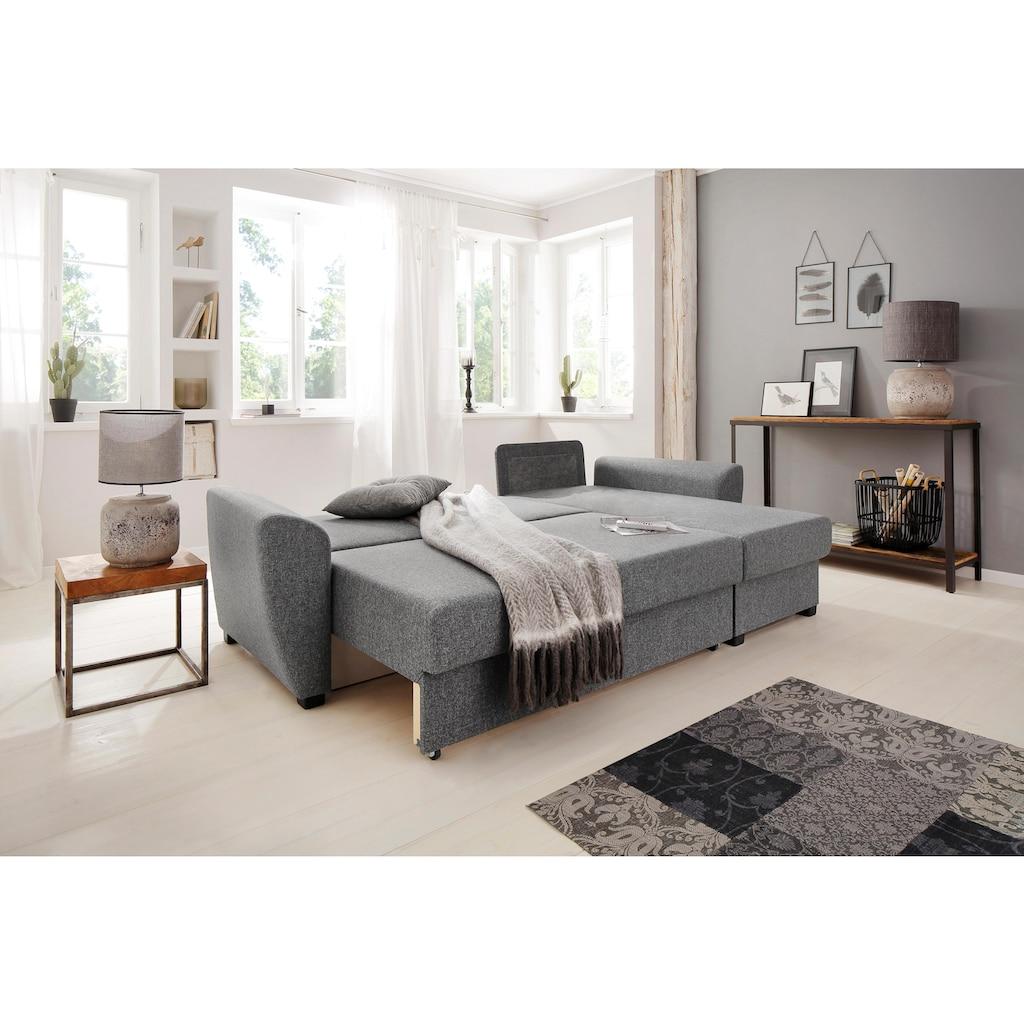 Home affaire Ecksofa »Quin«, mit Bettfunktion und Zierkissen