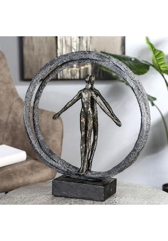 Casablanca by Gilde Dekofigur »Skulptur Paar im Ring, bronzefarben/schwarz«, Dekoobjekt, Höhe 40, Pärchen im Ring, mit Spruchanhänger, Wohnzimmer kaufen