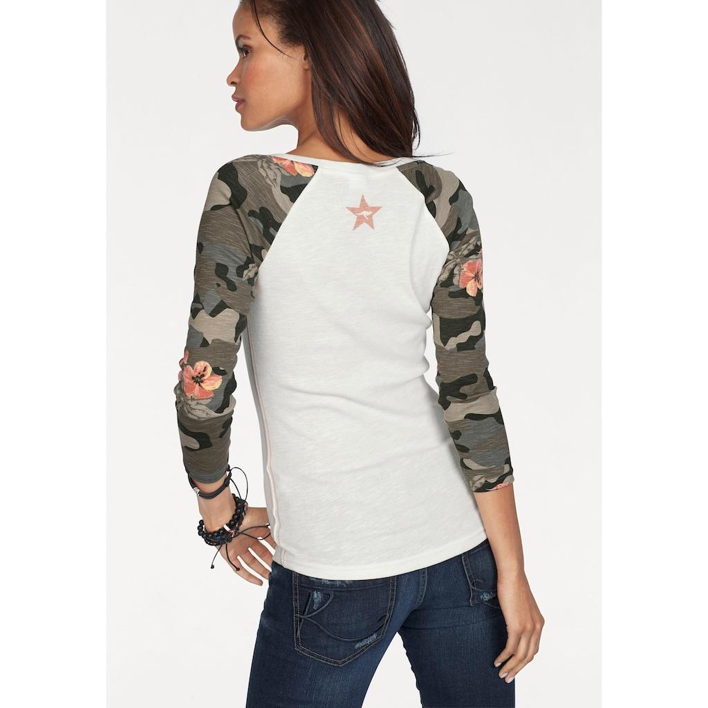 KangaROOS 3/4-Arm-Shirt, mit tarnfarbenen Camouflage-Ärmeln und Front-Print