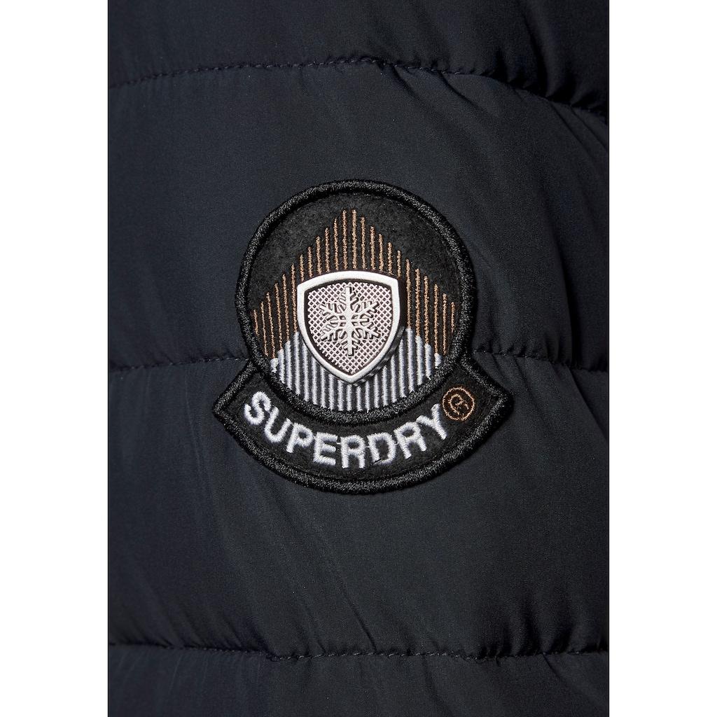Superdry Outdoorjacke »SUPER FUJI JACKET«, Steppmantel mit abnehmbarer Fellimitatkapuze