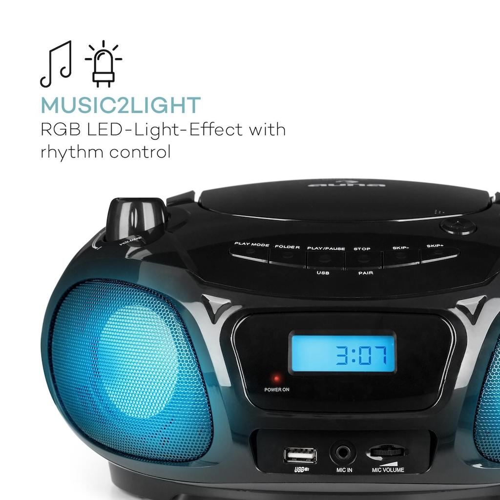 Auna Sing CD Boombox UKW-Radio Lichtshow CD-Player Mikrofon