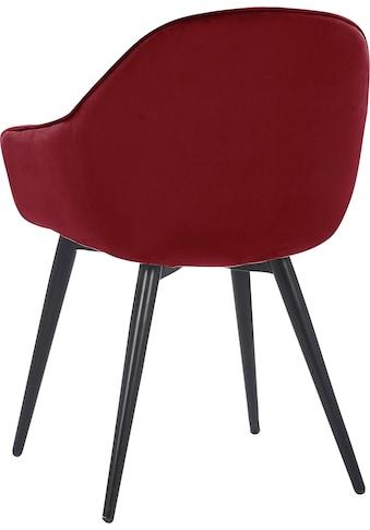 Leonique Esszimmerstuhl »Isalie«, 2er-Set, mit schöner Steppung im Rücken und Metallbeinen kaufen